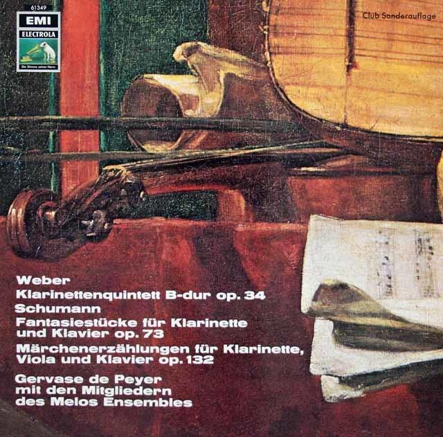 ドゥ・ペイエ&メロス・アンサンブルのウェーバー/クラリネット五重奏曲ほか  独EMI 3024 LP レコード