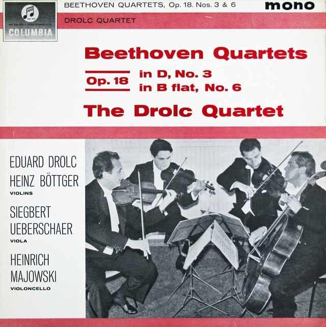 ドロルツ四重奏団のベートーヴェン/弦楽四重奏曲第3&6番   英Columbia 3024 LP レコード