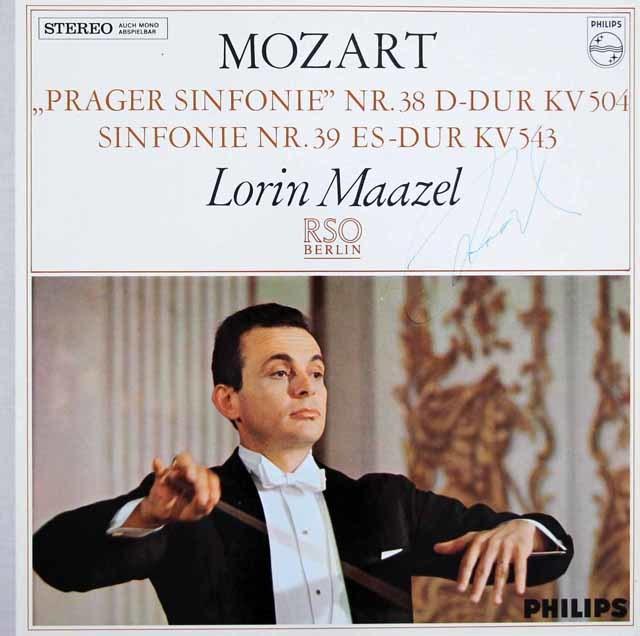 【サイン入り】マゼールのモーツァルト/交響曲第38番「プラハ」&第39番   蘭PHILIPS 3027 LP レコード