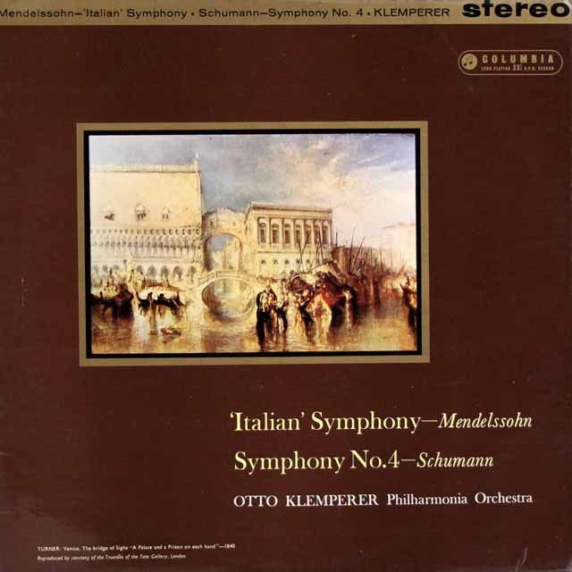 クレンペラーのメンデルスゾーン/交響曲第4番「イタリア」ほか   英Columbia 3027 LP レコード
