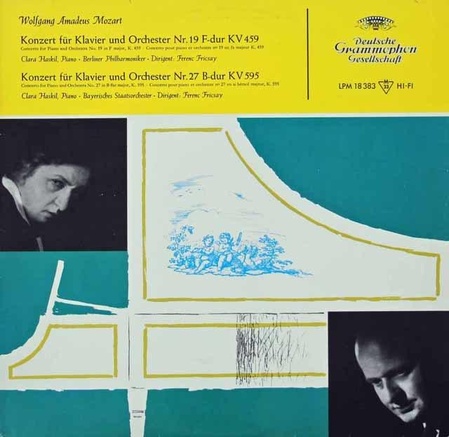 ハスキル&フリッチャイのモーツァルト/ピアノ協奏曲第19&27番    独DGG 3030 LP レコード