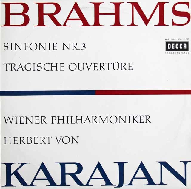 カラヤンのブラームス/交響曲第3番&悲劇的序曲   独DECCA 3032 LP レコード