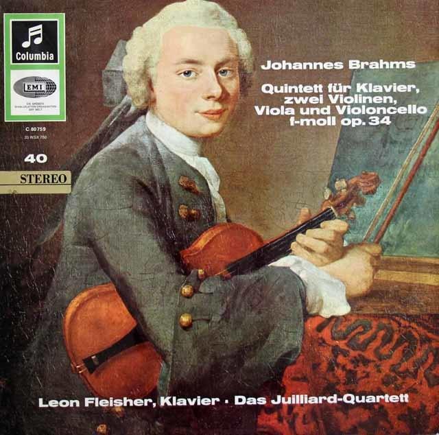 フライシャー&ジュリアード弦楽四重奏団のブラームス/ピアノ五重奏曲   独Columbia 3032 LP レコード
