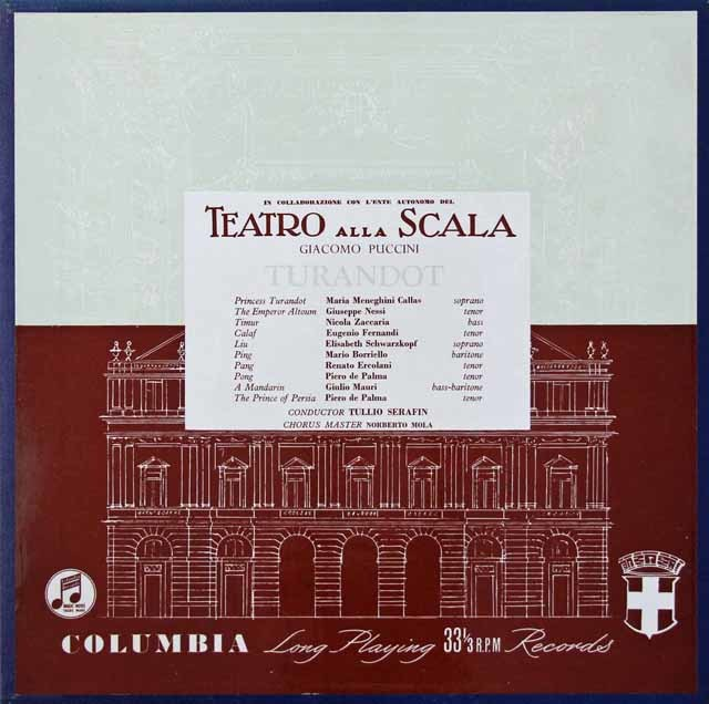 【オリジナル盤】 カラスのプッチーニ/「トゥーランドット」全曲 英Columbia 3038 LP レコード