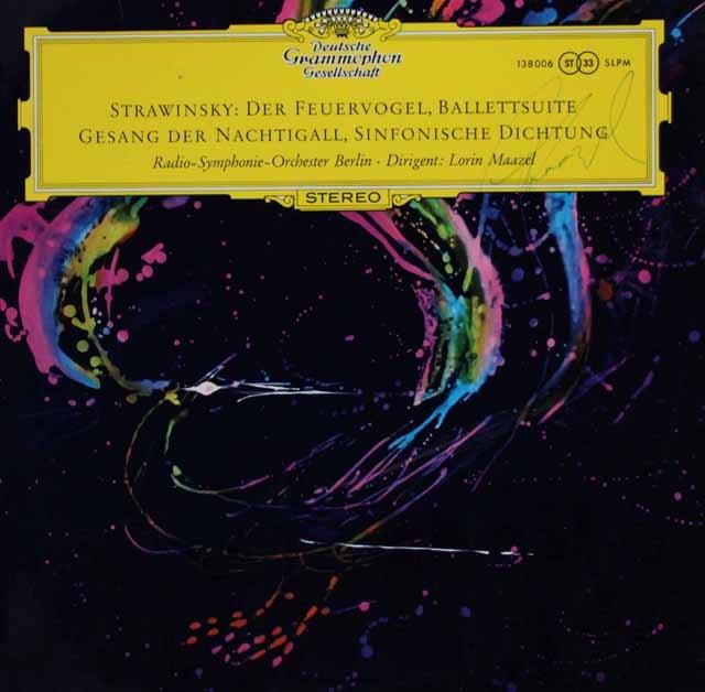 【直筆サイン入り】マゼールのストラヴィンスキー/組曲「火の鳥」ほか 独DGG 3038 LP レコード