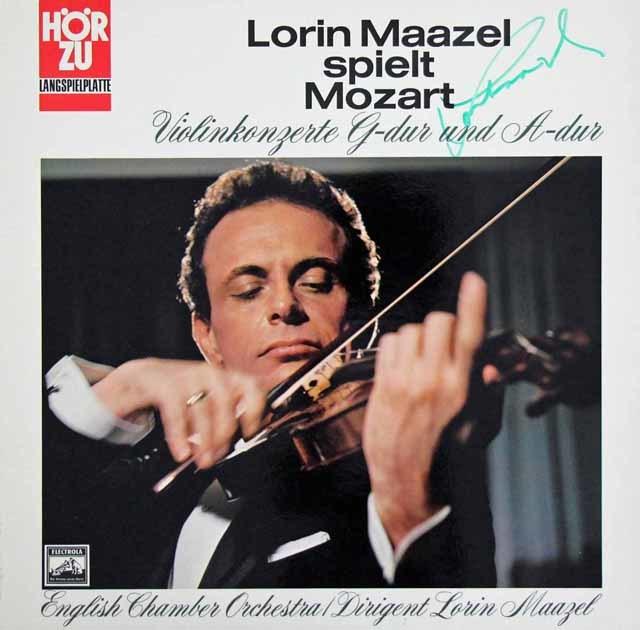 【直筆サイン入り】 マゼールのモーツァルト/ヴァイオリン協奏曲第3&5番   独EMI  3038