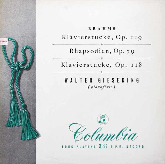 【オリジナル盤】ギーゼキングのブラームス/4つの小品ほか 英Columbia 3040 LP レコード