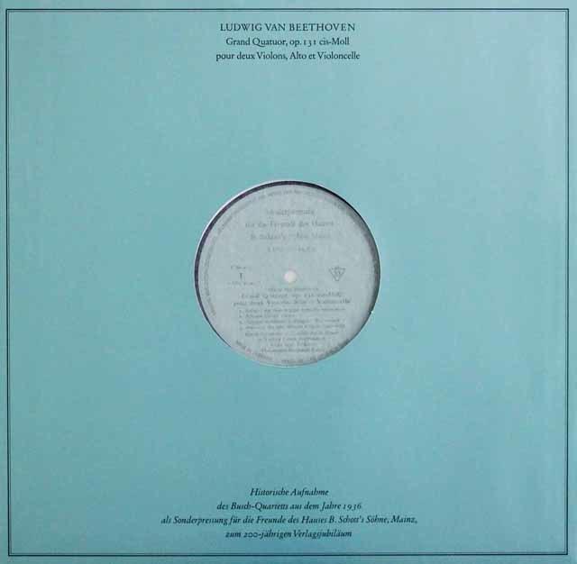 ブッシュ四重奏団のベートーヴェン/弦楽四重奏曲第14番 独Schott 3041 LP レコード
