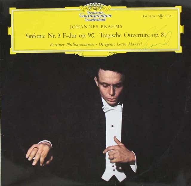 【直筆サイン入り】 マゼールのブラームス/交響曲第3番ほか 独DGG 3041 LP レコード
