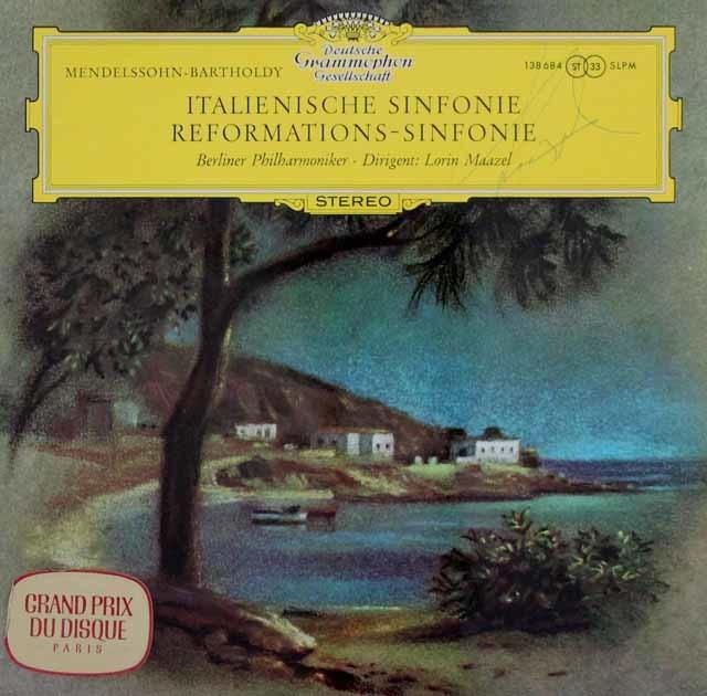 【直筆サイン入り】 マゼールのメンデルスゾーン/交響曲第4番「イタリア」&第5番「宗教改革」 独DGG 3041 LP レコード