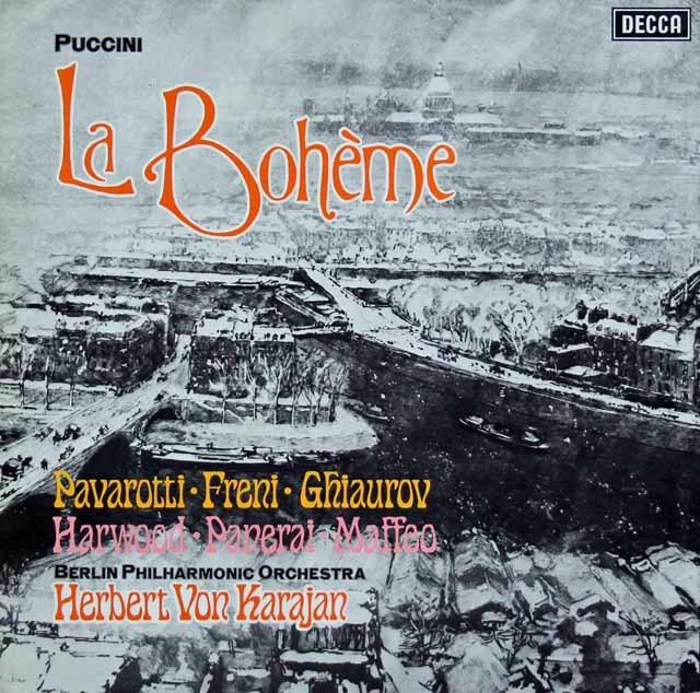 【オリジナル盤】 カラヤンのプッチーニ/「ラ・ボエーム」全曲 英DECCA 3041 LP レコード