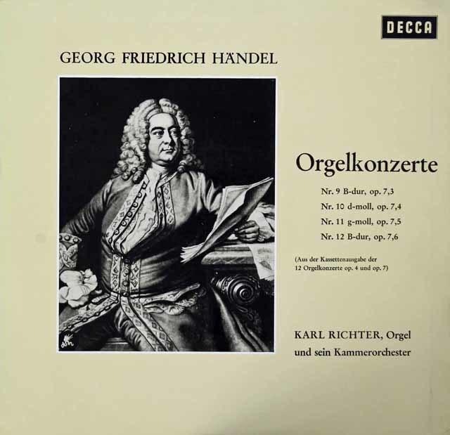 リヒターのヘンデル/オルガン協奏曲第9~12番 独DECCA 3042 LP レコード