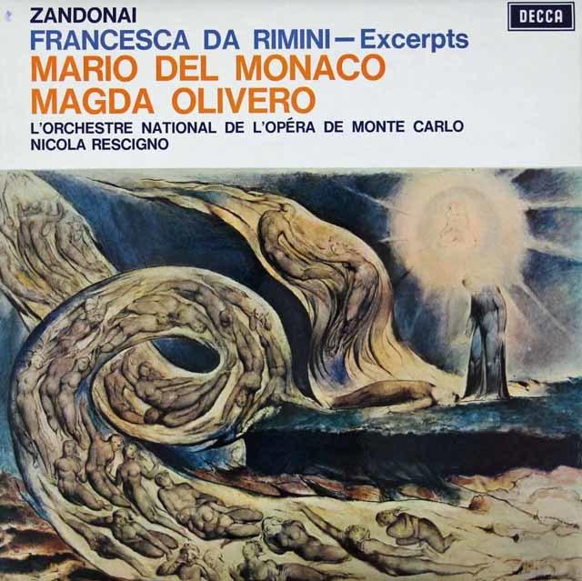 【オリジナル盤】デル=モナコ&オリヴェロのザンドナイ/「フランチェスカ・ダ・リミニ」抜粋 英DECCA 3042 LP レコード