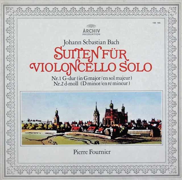 フルニエのバッハ/無伴奏チェロ組曲第1&2番 独ARCHIV 3043 LP レコード