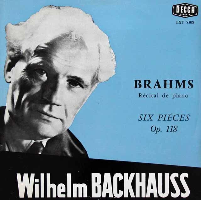 バックハウスのブラームス/ピアノ・リサイタル、6つの小品Op118ほか 仏DECCA モノラル 3034 LP レコード