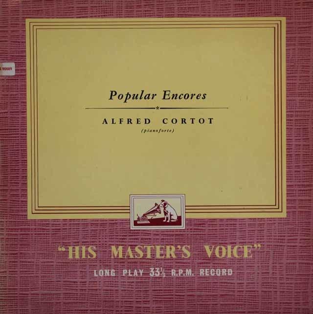 【オリジナル盤】コルトーの「ポピュラー・アンコール」 ブラームス/子守歌他   英EMI 3043 LP レコード