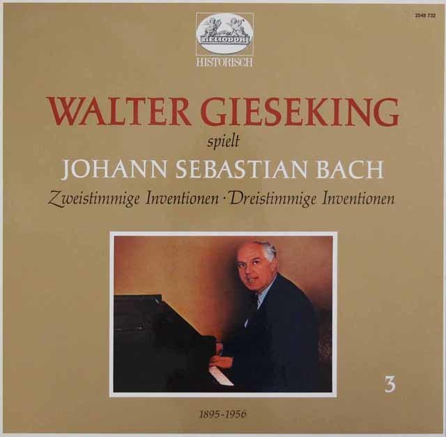 ギーゼキングのバッハ/2声のインヴェンションと3声のシンフォニア 独HELIODOR 3044 LP レコード