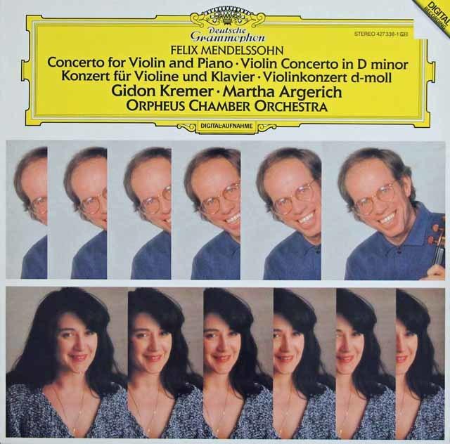 クレーメル&アルゲリッチのメンデルスゾーン/ヴァイオリンとピアノのための二重協奏曲ほか 独DGG 3045 LP レコード