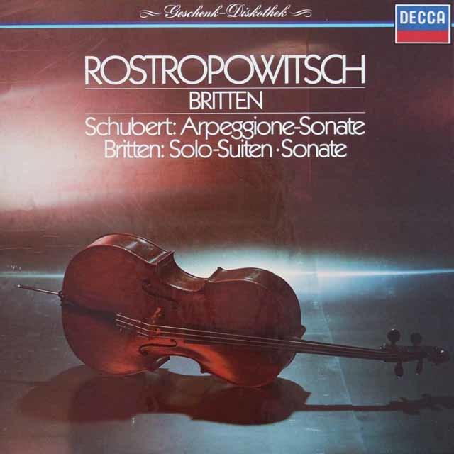 ロストロポーヴィチ&ブリテンのシューベルト/アルペジオーネ・ソナタほか 独DECCA 3046 LP レコード