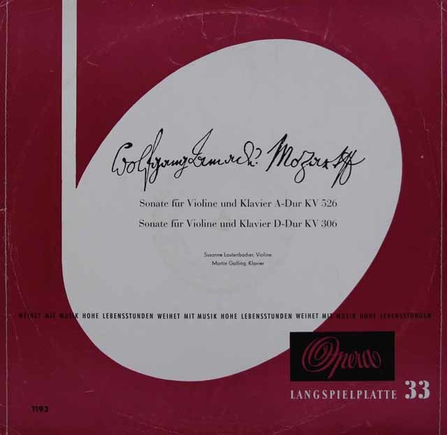 ラウテンバッハー&ガリンクのモーツァルト/ヴァイオリンソナタ第30&42番 独Opera 3046 LP レコード