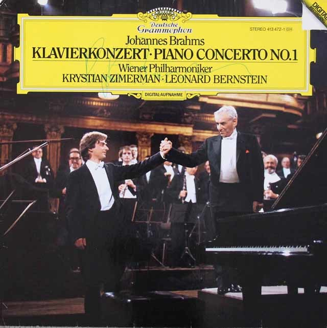 【直筆サイン入り】 ツィンマーマン&バーンスタインのブラームス/ピアノ協奏曲第1番 独DGG 3046 LP レコード