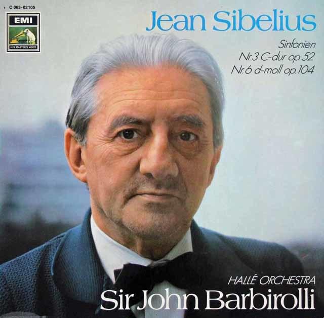 バルビローリのシベリウス/交響曲第3&6番   独EMI 3048 LP レコード