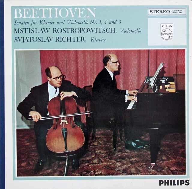 ロストロポーヴィチ&リヒテルのベートーヴェン/チェロソナタ第1番、4番、5番 蘭PHILIPS 3048 LP レコード