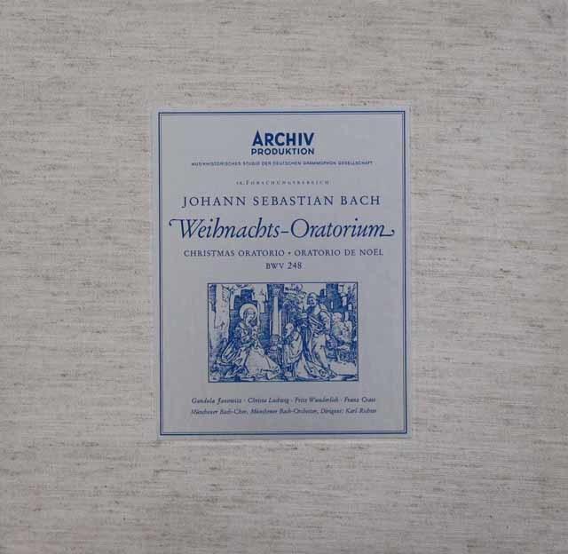 リヒターのバッハ/クリスマス・オラトリオ  独ARCHIV 3048 LP レコード