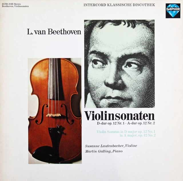 ラウテンバッハーのベートーヴェン/ヴァイオリンソナタ第1&2番 独SAPHIR 3101 LP レコード