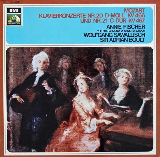 フィッシャーのモーツァルト/ピアノ協奏曲第20&21番 独EMI 3101 LP レコード