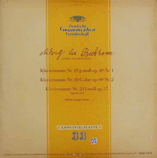【独最初期盤】ケンプのベートーヴェン/ピアノソナタ第19, 20 &23番 独DGG 3102 LP レコード