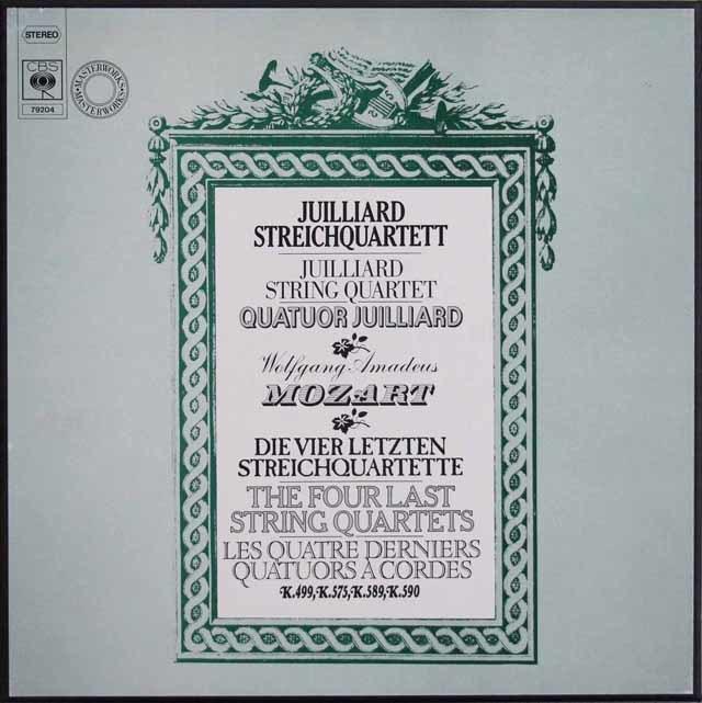 ジュリアード四重奏団のモーツァルト/弦楽四重奏曲第20番~23番 独CBS 3103 LP レコード