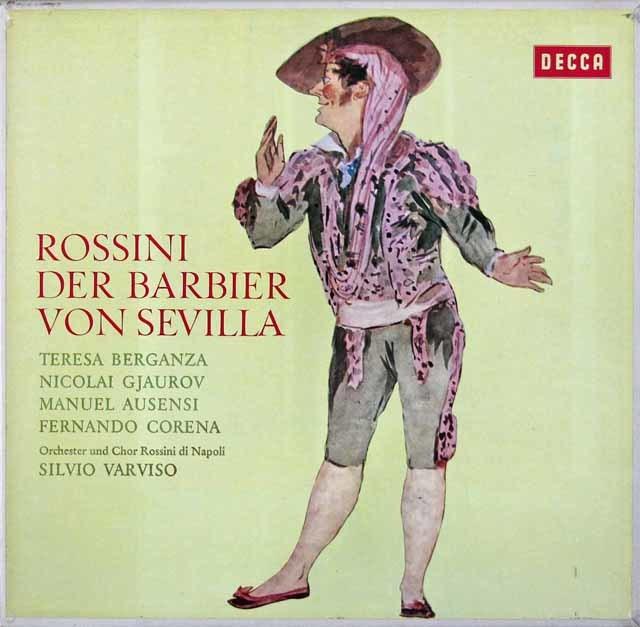 【直筆サイン入り】 ベルガンサ&ヴァルヴィーゾのロッシーニ/「セビリアの理髪師」全曲 独DECCA 3103 LP レコード