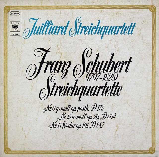 ジュリアード四重奏団のシューベルト/弦楽四重奏曲「ロザムンデ」ほか 独CBS 3104 LP レコード