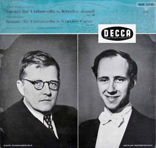 ロストロポーヴィチ&作曲者自身によるショスタコーヴィチ/チェロソナタ 二短調ほか 独DECCA 3104 LP レコード