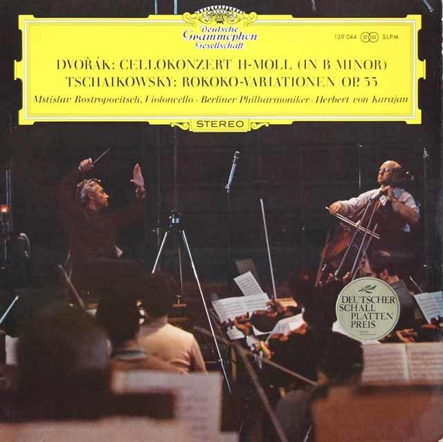 【直筆サイン入り】 ロストロポーヴィチ&カラヤンのドヴォルザーク/チェロ協奏曲ほか  独DGG 3104 LP レコード
