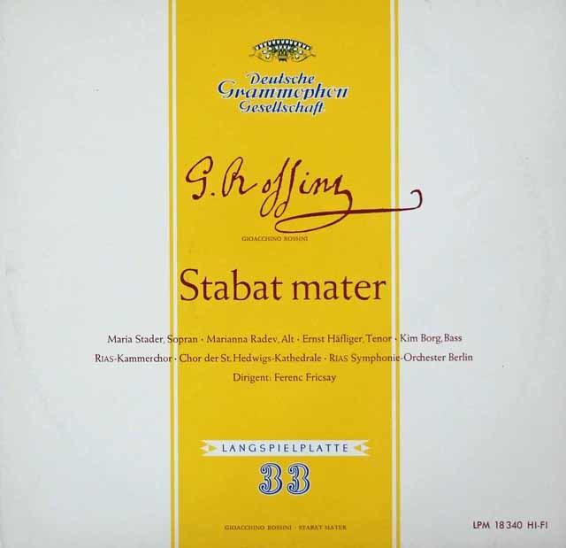 フリッチャイのロッシーニ/「スターバト・マーテル」 独DGG 3106 LP レコード