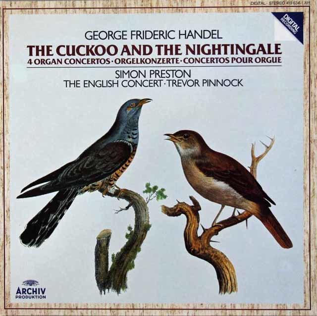 プレストン&ピノックのヘンデル/オルガン協奏曲「かっこうとナイチンゲール」 独ARCHIV 3106 LP レコード