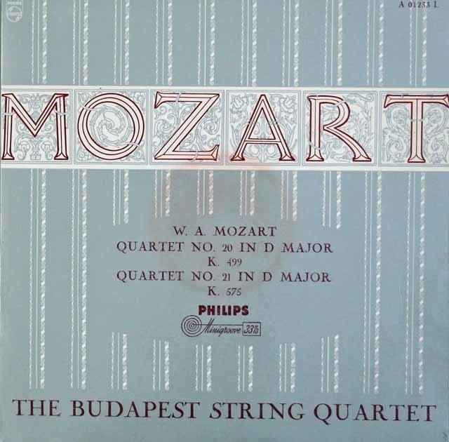 ブダペスト四重奏団のモーツァルト/弦楽四重奏曲第20&21番 独PHILIPS 3106 LP レコード