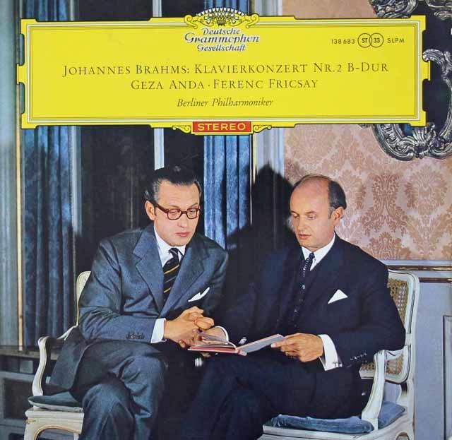 【赤ステレオ】アンダ&フリッチャイのブラームス/ピアノ協奏曲第2番 独DGG 3107 LP レコード