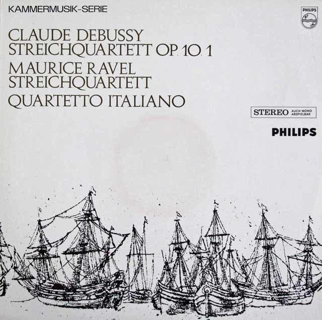 イタリア四重奏団のドビュッシー&ラヴェル/弦楽四重奏曲集 蘭PHILIPS 3108 LP レコード