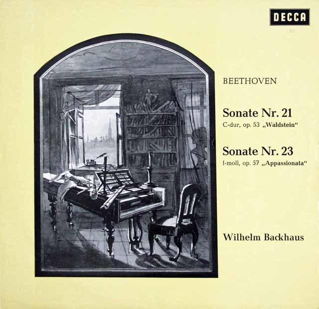 バックハウスのベートーヴェン/ピアノソナタ「ワルトシュタイン」&「熱情」 独DECCA 3108 LP レコード
