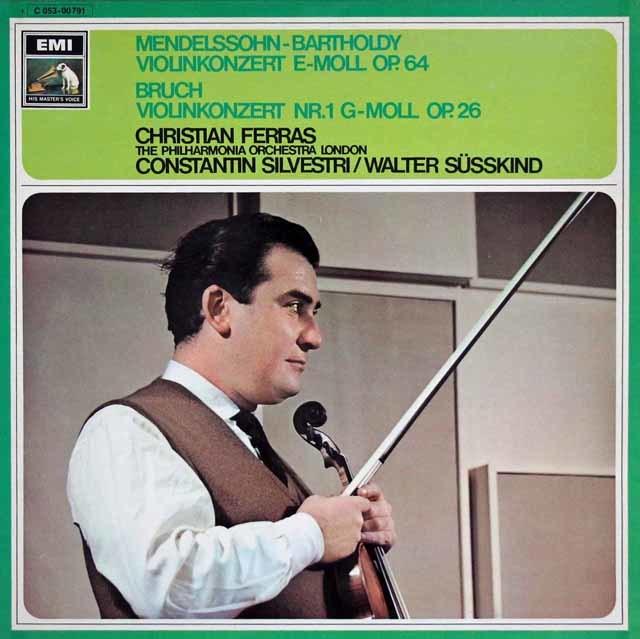 フェラス&ジュスキントのメンデルスゾーン&ブルッフ/ヴァイオリン協奏曲集 独EMI 3108 LP レコード