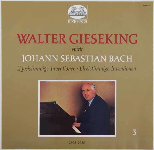 ギーゼキングのバッハ/2声のインヴェンションと3声のシンフォニア 独HELIODOR 3109 LP レコード