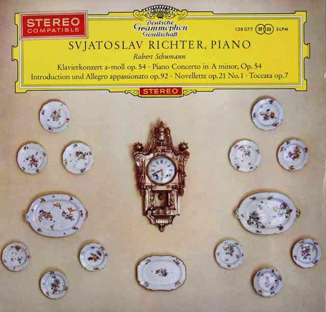 【独最初期盤/赤ステレオ】 リヒテル&ヴィスロスキのシューマン/ピアノ協奏曲ほか 独DGG 3110 LP レコード