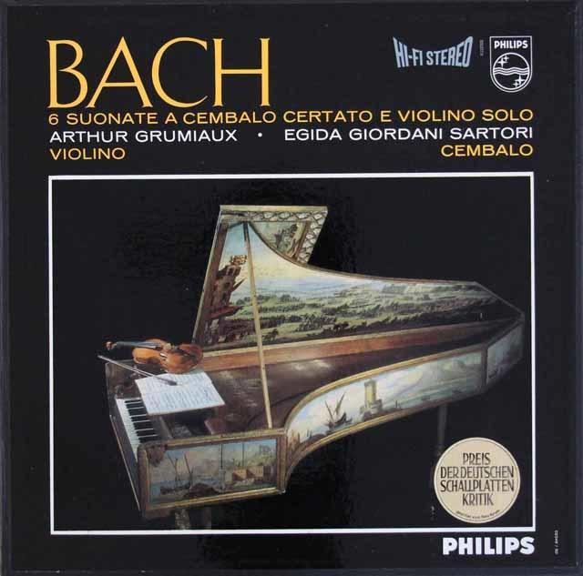グリュミオー&サルトリのバッハ/ヴァイオリンとチェンバロのためのソナタ集 蘭PHILIPS 3111 LP レコード