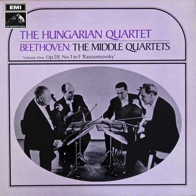 ハンガリー四重奏団のベートーヴェン/弦楽四重奏曲第9「ラズモフスキー第3番」&10番「ハープ」  英EMI 3111 LP レコード