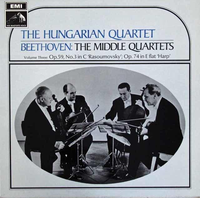 ハンガリー四重奏団のベートーヴェン/弦楽四重奏曲第7番「ラズモフスキー第1番」  英EMI 3111 LP レコード