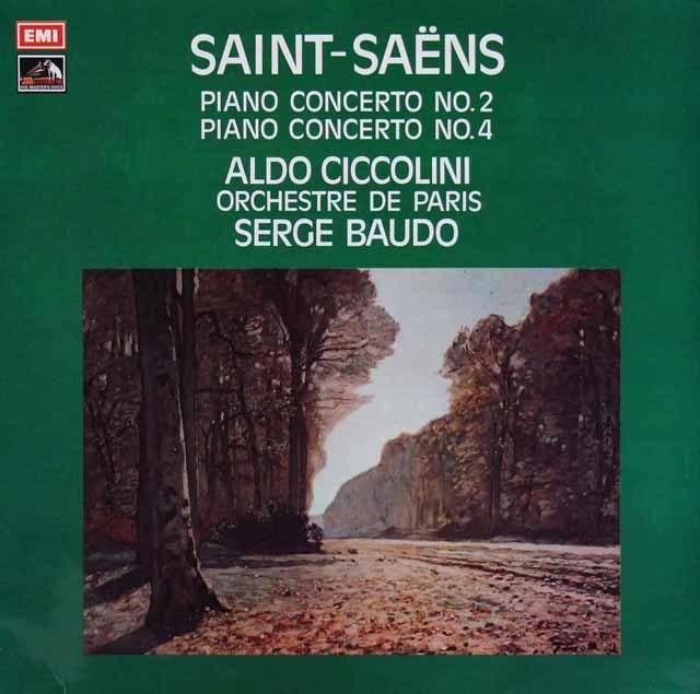 チッコリーニ&ボドのサン=サーンス/ピアノ協奏曲第2&4番 英EMI 3111 LP レコード