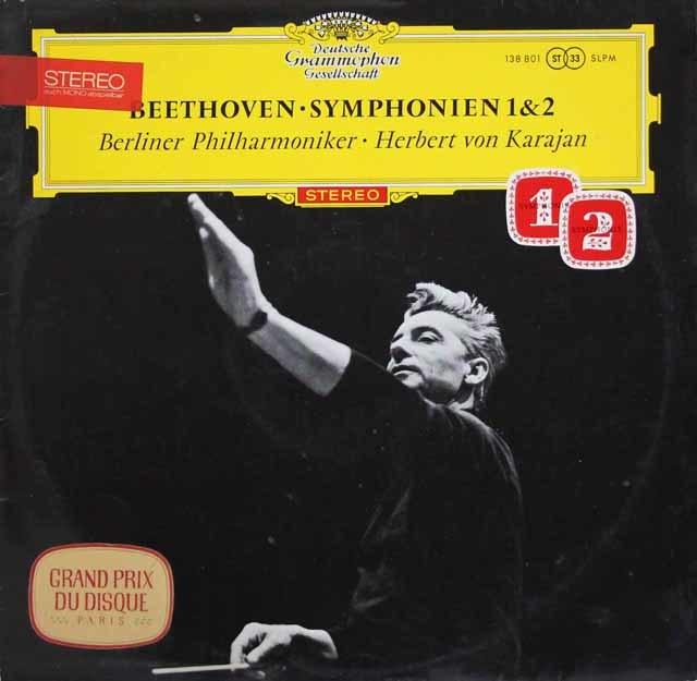 【赤ステレオ・オリジナル盤】カラヤンのベートーヴェン/交響曲第1&2番 独DGG 3111 LP レコード